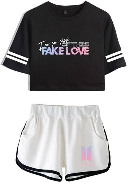 TALLA XXL. EnjoyYourLife BTS Camiseta Set Expuestos Pantalones Cortos Ombligo Traje De La Camiseta BTS Crop Top T-Shirt