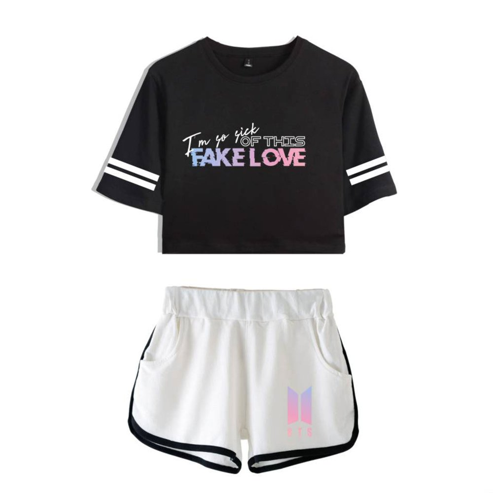 EnjoyYourLife BTS Camiseta Set Expuestos Pantalones Cortos Ombligo Traje De La Camiseta BTS Crop Top T-Shirt