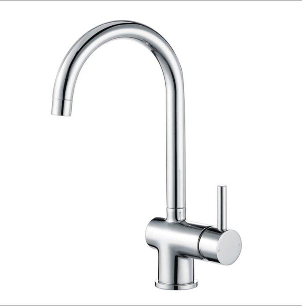 Küchenarmaturen YIXINY Wasserhahn Fantastische Qualität Einzelner Griff Einloch Warmes Und Kaltes Wasser Edelstahl Spüle Wasserhahn, Waschtischarmatur