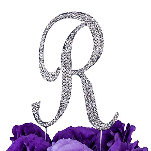 LOVENJOY Gift Box Pack Personalized Letter R Crystal Rhinestone Wedding Anniversary Birthday Bridal Shower Metal Cake Decoration Topper Silver (3.3-inch)