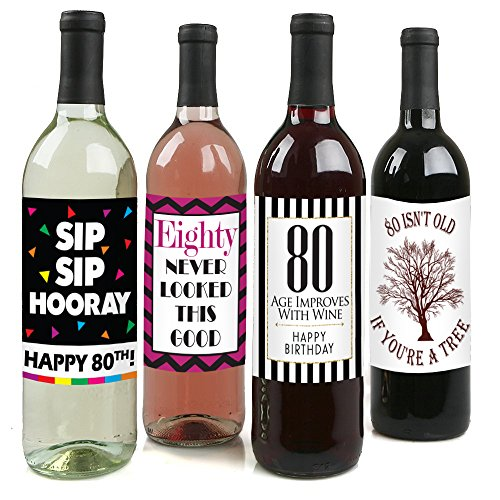 Chic 80th Birthday Wine Label Pack - Birthday Party Supplies, Ideas and Decorations - Funny Birthday Gifts for Women (Wine Bottle Decoration Ideas)