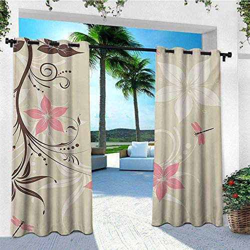 (leinuoyi Dragonfly, Outdoor Curtain Pair, Floral Background with Dragonflies and Spiral Fashioned Foliage Bud Elements Print, for Patio W84 x L108 Inch Brown Tan)