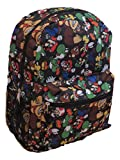 Super Mario All Over Print Black 16'' Full Size Backpack