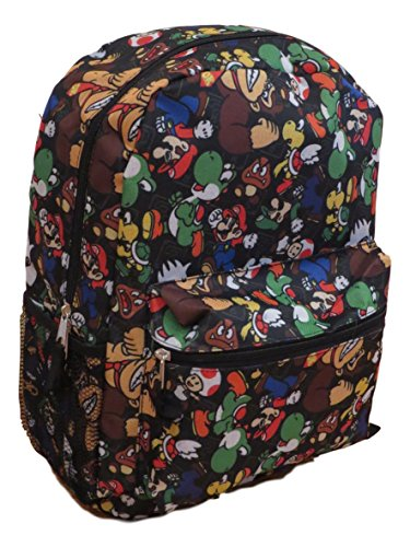 Super Mario All Over Print Black 16'' Full Size Backpack by Global Design Concepts