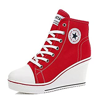 Padgene Women's Sneaker High-Heeled Fashion Canvas Shoes High Pump Lace UP Wedges Side Zipper Shoes (7-7.5 US, Red)
