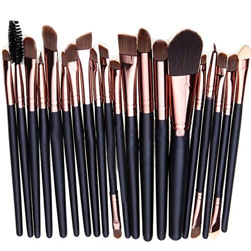 West See 20 Stück Weiche Kosmetik Pinsel-Set Make Up Bürsten Lidschatten Gesichtspinsel Eyeliner Makeup Set (Coffee 2)