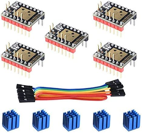 BIQU3Dプリンター部品ステップスティックミュートTMC2209V1.2ステッピングモータードライバーヒートシンク付きSKRV1.3MKSGENLランプ1.4/1.5/1.6用(5個パック)(UARTモード)