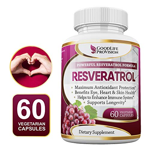 100% Pure Resveratrol - 1000mg Capsules Without Proprietary Blends - Natural Anti Aging Support & Antioxidant Supplement for Immune, Skin & Heart Health - 60 Veggie Caps, 30 Day Supply