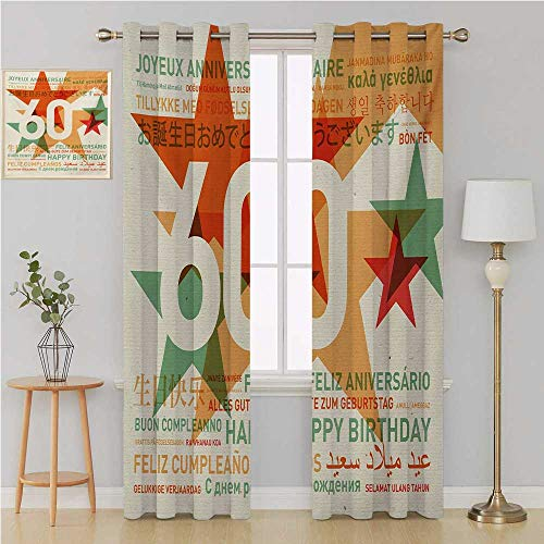 (58th Birthday Grommet Curtain Blackout Draperies for Bedroom,World Cities Birthday Party Theme with Abstract Stars Print Light Curtain 120 by 84 Inch Green Vermilion and)