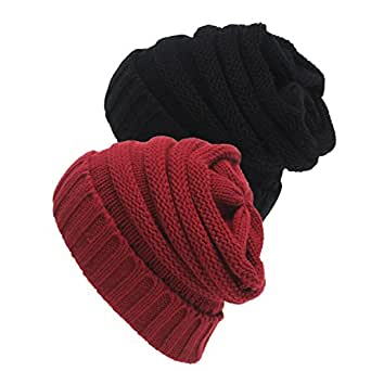 Trendy Warm Chunky Soft Stretch Cable Knit Slouchy Beanie Skully (1black red)