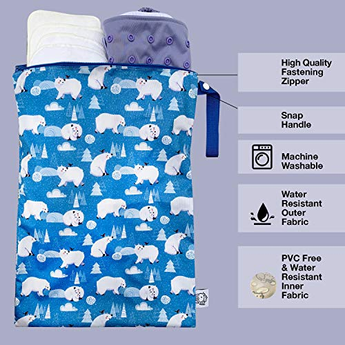 51byJc 0LAL - FLOCK THREE Waterproof And Reusable Wet Bag Diaper Stroller Water Resistant Swimsuit Travel Toiletries Yoga Gym Washable Carrier Polar Bear Large 12.6'' X 16.5''