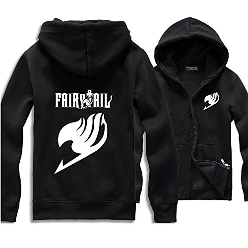 Pulle-A Anime Cosplay Fairy Tail Costume Long Sleeve Unisex Zipper Hoodie Black S
