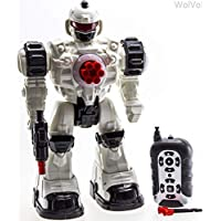 WolVol (Large Version) 10 Channel Remote Control Robot Police Toy with Flashing Lights and Sounds, Great Action Toy for Boys