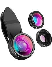 AMIR 3 in 1 Clip-On Handy Objektiv Kit, 198° Fisheye Objektiv + 0.4X Weitwinkel Objektiv + 15X Makro Objektiv, Kamera Objektiv für Samsung Galaxy/Note & Die meisten Smartphones.