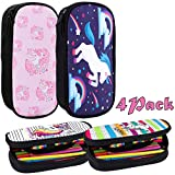 BEYUMI Cute White Unicorn Pencil Case 4 Pack, up to 50 Pens High Capacity Pencil Pouch Stationery Organizer Multifunction Cosmetic Makeup Bag, Perfect Holder Student Adult Office High School