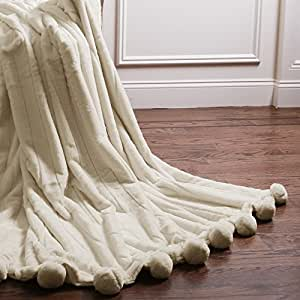 "Best Home Fashion Luxe Mink Faux Fur Pom Throw -Lounge Blanket - Cream - 58""W X 60""L (1 Throw)"