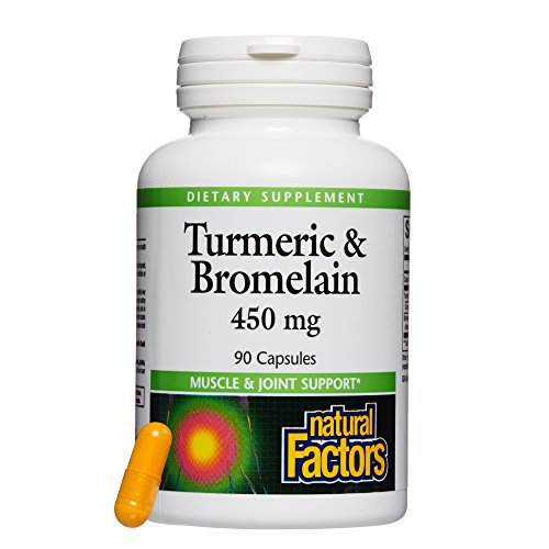 (Natural Factors, Turmeric & Bromelain 450 mg, Supports Healthy Digestion, Liver, Muscle and Joint Function, 90 capsules (90 servings) )