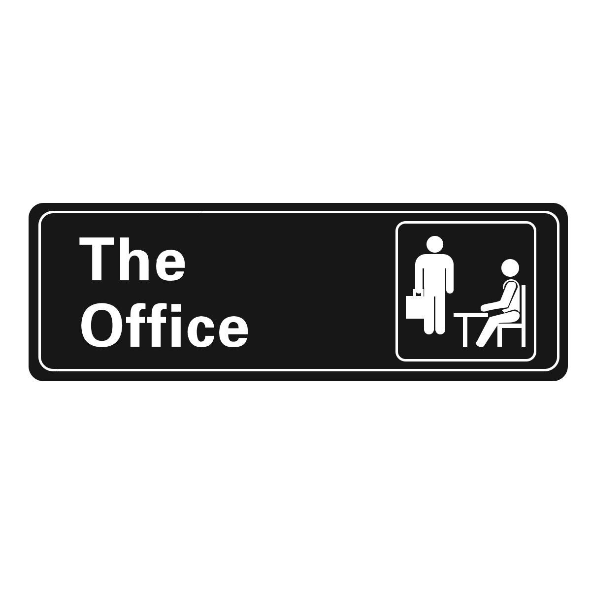 The Office Self Adhesive Sign, 9 X 3 Inch (Black / White) 1-Sign Visual Impact, For Door or Wall, Large or Small Office By Veronica by Veronica