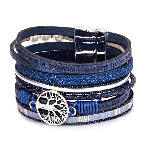 Alaxy Multi-Layer Leather Tassel Bracelet Handmade Wristband Gorgeous Wrap Bracelet with Magnetic Buckle Bohemian Bangle Jewelry for Women, Teen Girl, Sister, Daughter Gift (Blue)