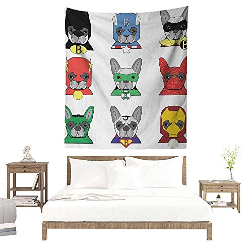 Meikxf Superhero DIY Tapestry Bulldog Superheroes Fun Cartoon Puppies in Disguise Costume Dogs with Masks Print Home Decorations for Bedroom Dorm Decor 60W x 80L INCH Multicolor ()