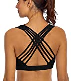 YIANNA Sports Bras for Women – Strappy Sports Bra Padded for Yoga, Running, Fitness – Athletic Gym Tops