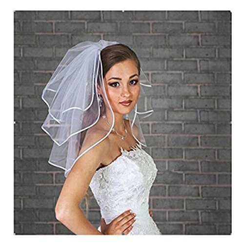 Fair Lady Short 3 Layers with Ribbon Edge and Free Comb Ivory Bridal Veils