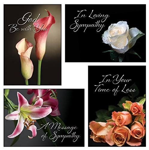Flowers Sympathy Card (12 Boxed Sympathy Greeting Cards - Loving Memory - NIV Scripture Included in Each Card! Bulk Sympathy Cards & 12 Envelopes Boxed Cards Flower)