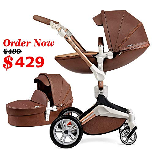 Baby Stroller 360 Rotation Function,Hot Mom Baby Carriage Pu Leather with Carrycot Pushchair Pram 2020,Coffer