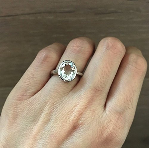 White Topaz Promise Ring- White Gemstone Engagement Ring- Alternative White Bridal Ring- White Nontraditional Engagement Ring