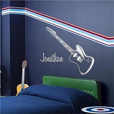 Enchantingly Elegant Guitar with Custom Name Vinyl Decal Wall Sticker Words Lettering Music Teen Boy Room