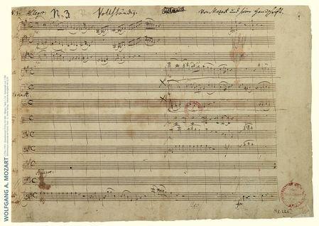 Mozart Music Manuscript Poster: Piano Concerto in A Major K. 488 ()