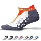 Thirty48 Running Socks Unisex, CoolMax Fabric Keeps Feet Cool & Dry, Orange/Gray, Large