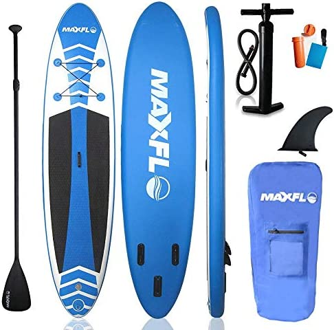 Inflatable Stand Up Paddle Board 10 6 Long 6 Thick with Premium SUP Accessories Carry Bag EXTRA Wide Stance, Bottom Fin for Paddling, Surf Control, Non-Slip Deck Youth Adult Standing Boat
