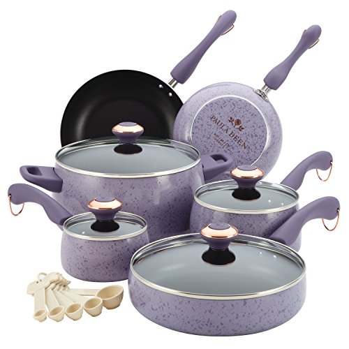 Paula Deen Signature Collection Porcelain Nonstick 15-Piece Pots and Pans Cookware Set, Lavender Speckle
