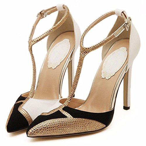 YMFIE Estilo Europeo y Sexy Sexy Zapatos de Alto Perfil Diamond Ladies' Zapatos Zapatos. a