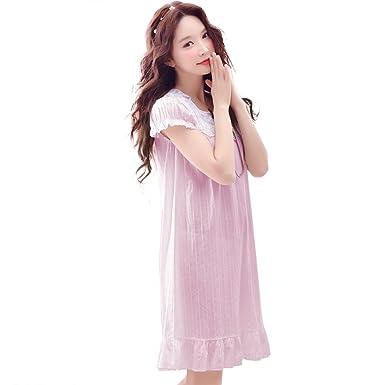f6b63a6b50 ZXCB Women s Summer Cotton Pajamas Sweet Princess Wind Palace Lace  Nightdress Thin Sexy Short Sleeve Nightgown