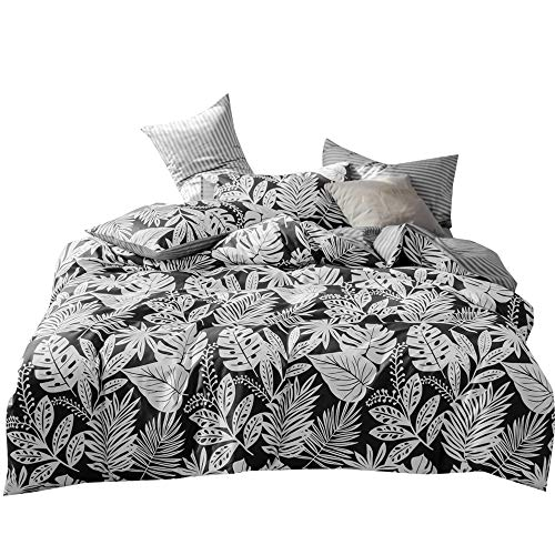 VClife Cotton Kid Bedding Duvet Cover Sets Twin Size White Black Duvet Cover with 2 Pillowcases Reversible Palm Leaves Pattern Stripe Print Comforter Quilt Cover Sets Queen Lightweight Durable Soft