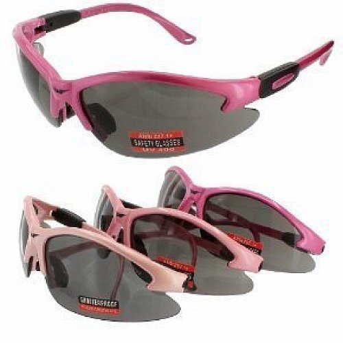 Safety Glasses Hot Pink Frame Smoke Lens - Pink Hot Glasses Safety