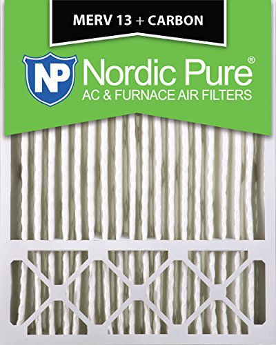 Nordic Pure 20x25x5 (4-3/8 Actual Depth) MERV 13 Plus Carbon Lennox X6673, X6675 Replacement AC Furnace Air Filter, Box of 1