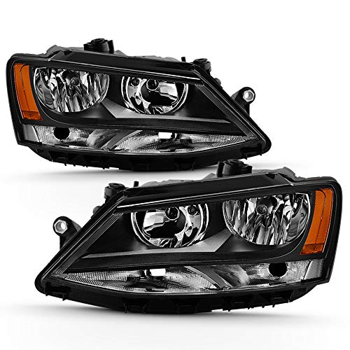 ACANII - For Black 2011-2018 Volkswagen VW Jetta Headlights Headlamps Replacement Driver + Passenger Side