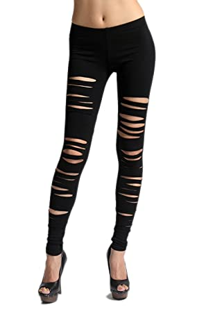 TheMogan Women's Cut Out Distressed Elastic Pull On Stretch ...