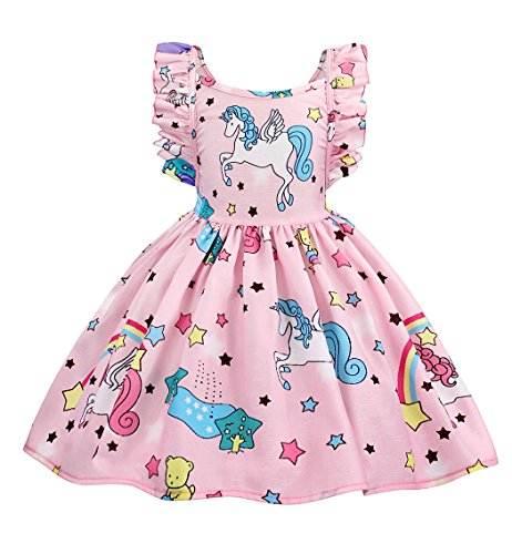 (Cotrio Baby Girls Sundress Unicorn Strappy Backless Slip Dress Toddler Pageant Party Dresses Wedding Ball Gown Unicorn Casual Dress Size 4T (110, 3-4Years) Pink)