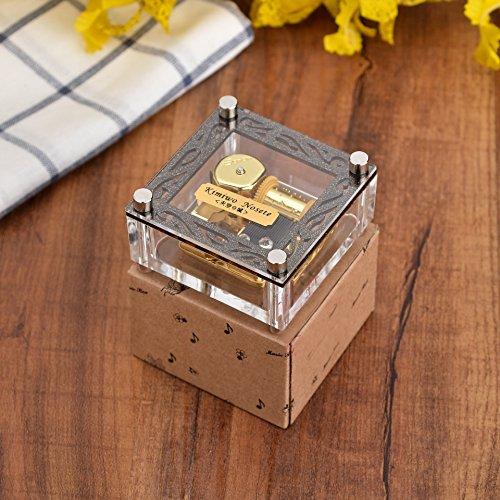 Caja de música de cuerda con caja de música cúbica de acrílico de YouTang con etiqueta de melodía en el movimiento de oro de las 18 notas principales, diferentes melodías disponibles (siempre conmigo de Spirited Away)