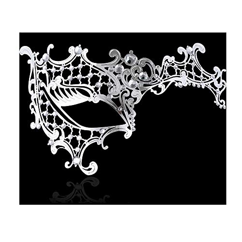 FaceWood Masquerade Mask for Women Ultralight Gorgeous Gold & Silver Shiny Metal Rhinestone Mask. (Half Face Silver) -