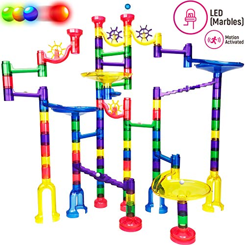 Thinkbox Toys Marble Race Game - Premium LED Marbles Light Up This Marble Run Set for Kids - BPA Free STEM Toy for Boys and Girls Makes Learning Exciting - A Great Educational Building Block Gift ()