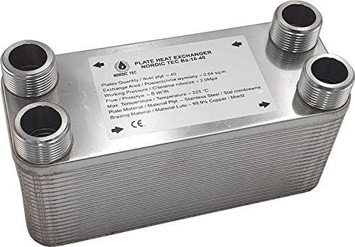 """105kW Edelstahl W/ärmetauscher Plattenw/ärmetauscher NORDIC Ba-16-26 26 platten 1/"""""""