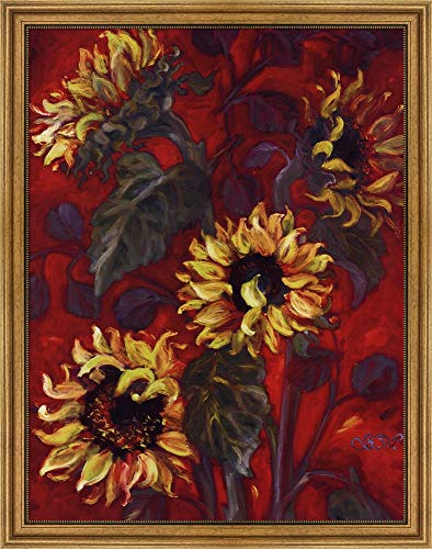 (Sunflowers I by Shari White Framed Art Print Wall Picture, Wide Gold Frame, 30 x 38 inches )