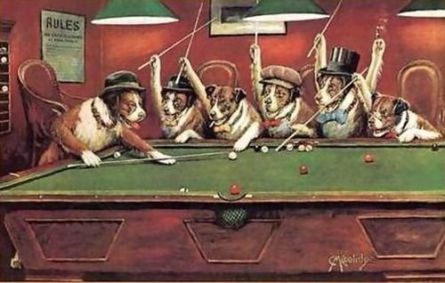 Cassius Marcellus Coolidge Dogs Playing Pool 114x72 (Coolidge Dogs Playing Pool)