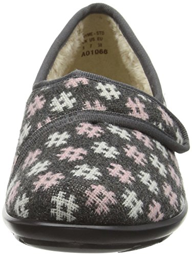 Hotter Damen Thyme Hausschuhe, Burgunderfarben Multicolor (Grey / Pink)