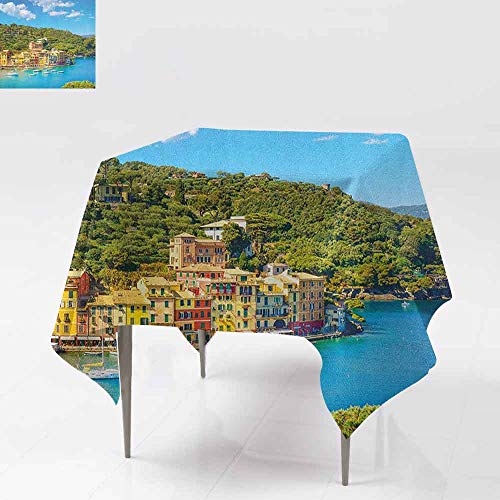 AndyTours Square Tablecloth,Italy,Portofino Landmark Aerial Panoramic View Village and Yacht Little Bay Harbor,Great for Buffet Table, Parties& More,36x36 Inch Blue Green - Aerial Mahjong